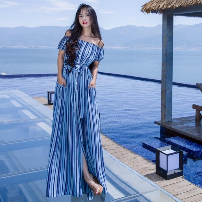 robe longue avec ceinture et boutons aux manches courtes tombantes, modèle de robe aux nuances bleues
