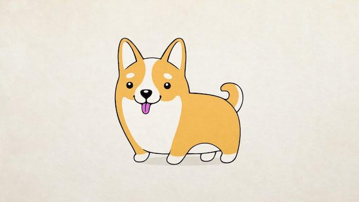 Mignon dessin chien dessin facile dessin noir et blanc ou dessin coloré corgni dessin simple