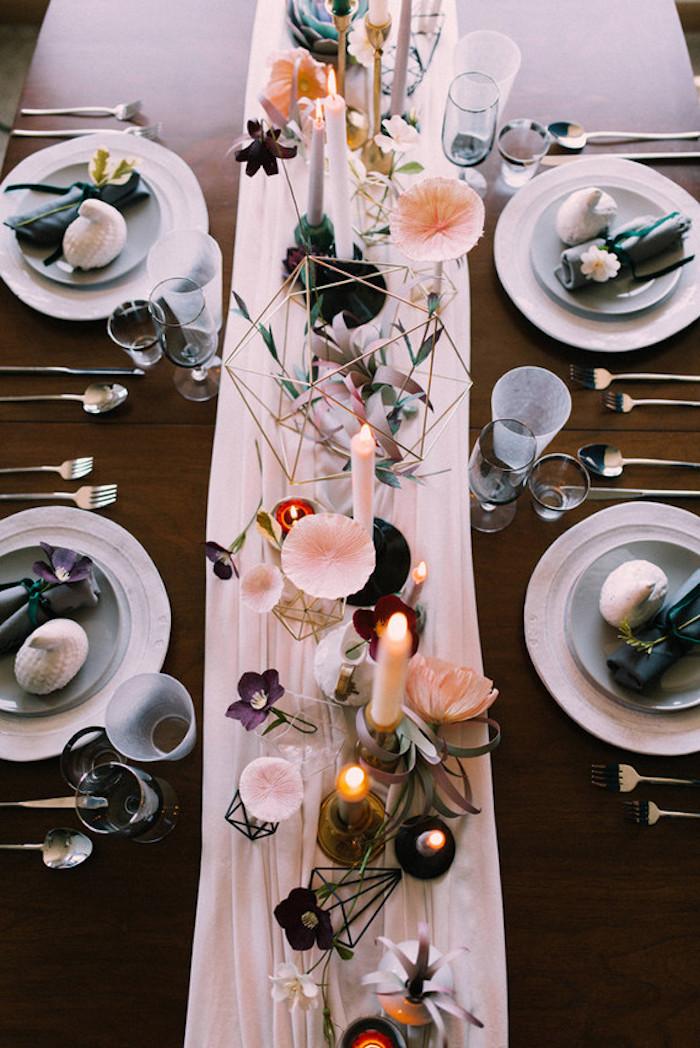 Chemin de table mariage thème mariage centre de table mariage célébration table longue chemin original automne mariage