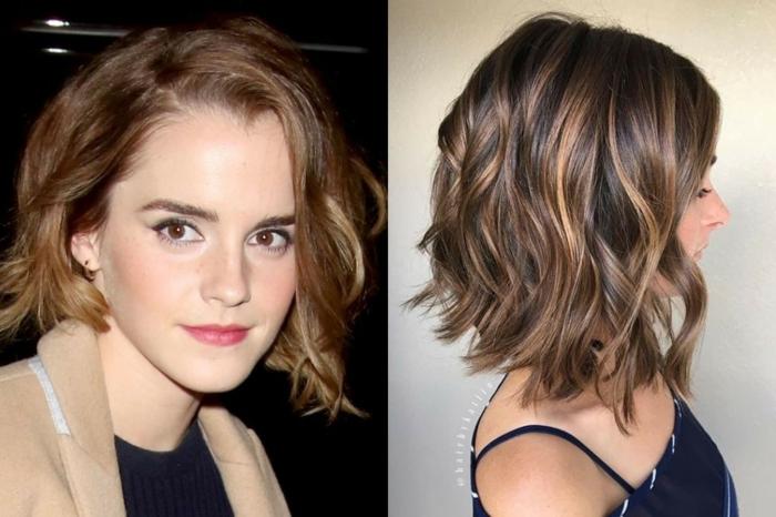 Emma Watson avec une coiffure carré messy, mèches blondes sur cheveux chataîns
