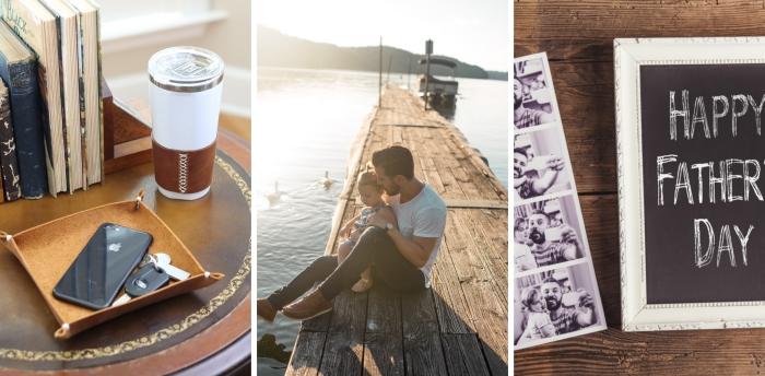 une cadre photo blanche de style vintage avec peinture ardoise et photos imprimés famille comme une idee cadeau fete des peres