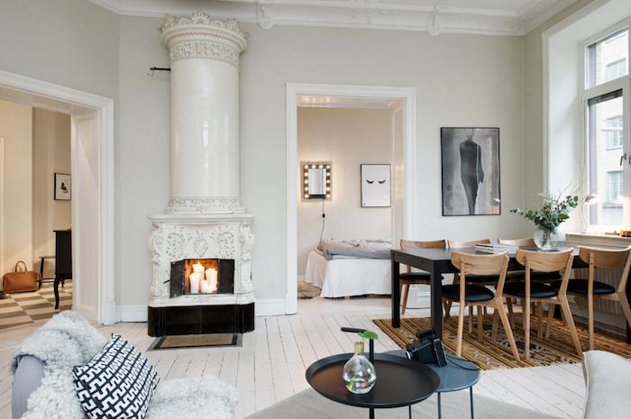 Décorer son salon idée déco salon moderne chouette déco hygge cheminée de bougies salle à manger salon et cuisine amenagement petit appartement