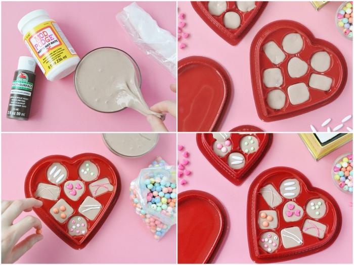 cadeau de saint-valentin insolite à réaliser soi-même, une jolie boîte cœur de bonbons en pate slime recette maison