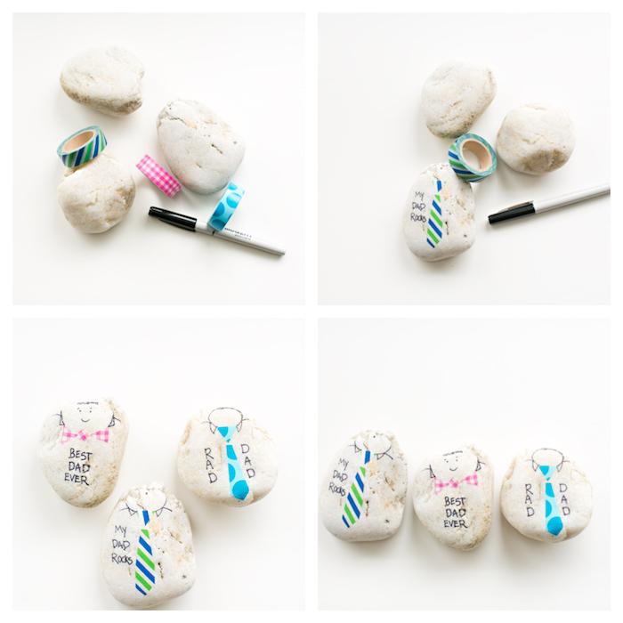 galets décorés au feutre et wahi tape motif cravate et petite fille et texte meilleur papa écrit au feutre indélébile noir