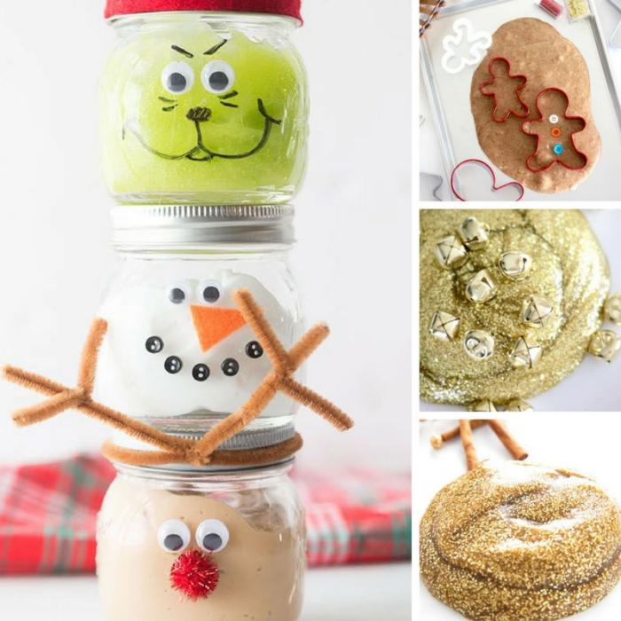 idée d'activités manuelles de noël avec de la pâte slime faite maison, recette du slime festif en version parfumée ou à paillettes