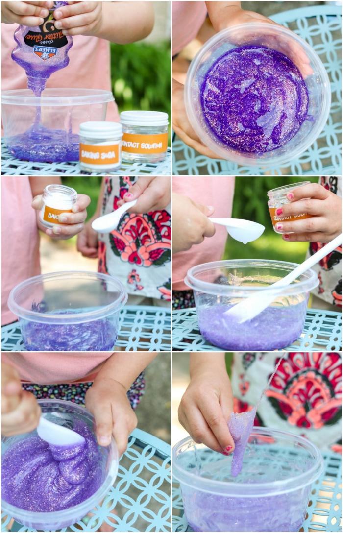recette diy pour fabriquer du slime avec solution pour lentilles de contact, sans borax, activité sensorielle ludique avec du slime pailleté fait maison