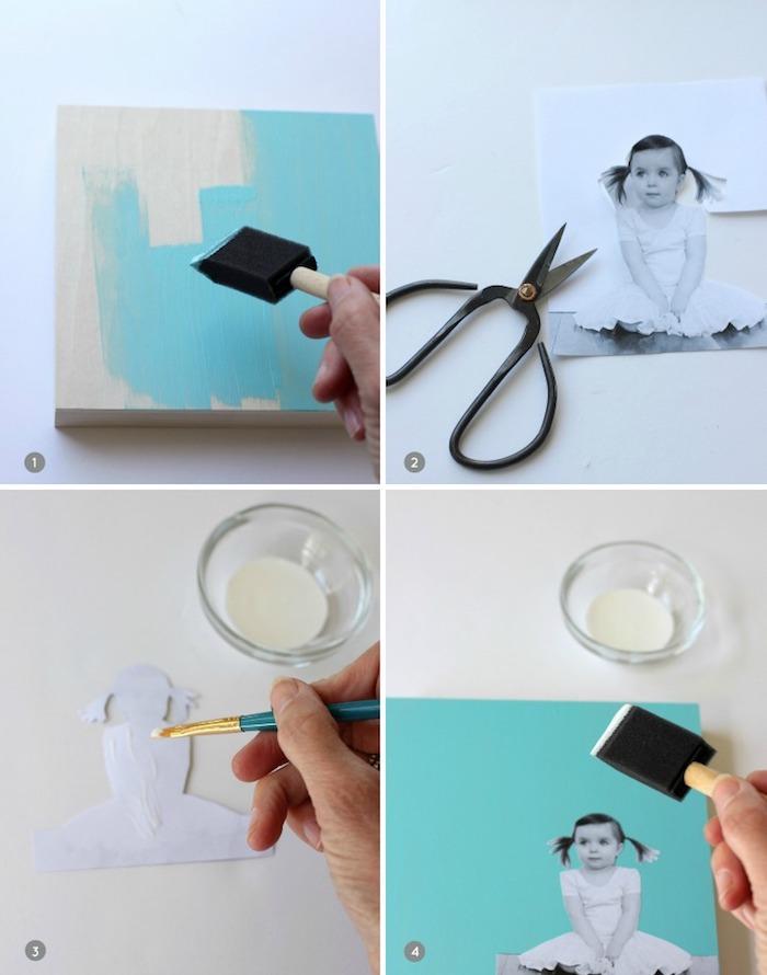 activité fete des peres, collage photo fille noir et blanc silhouette collé sur un block en bois repeint en peinture bleue acrylique