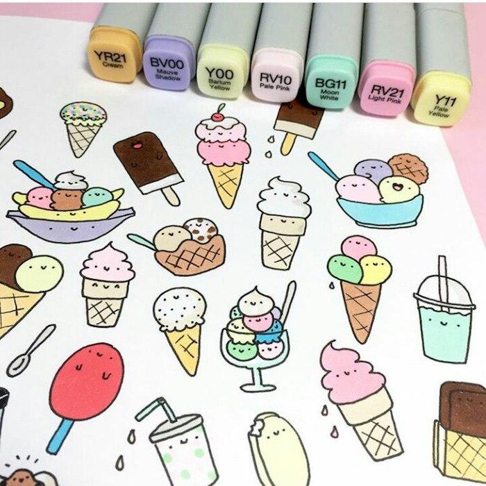 Dessin animé mignon idée dessin mignon a imprimer cool idée dessin petit pièces animés glace kawaii dessin milkshake