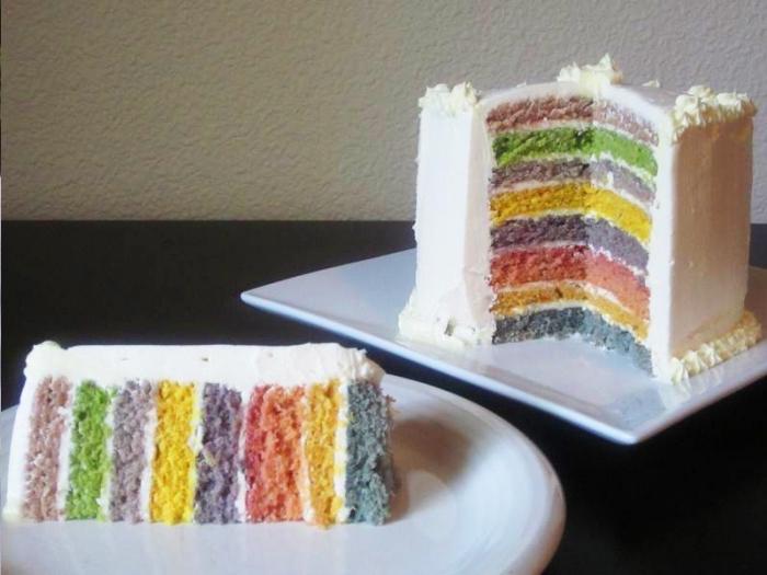 recette de rainbow cake préparé sans colorants artificiels, utilisant des teintures à base de plantes
