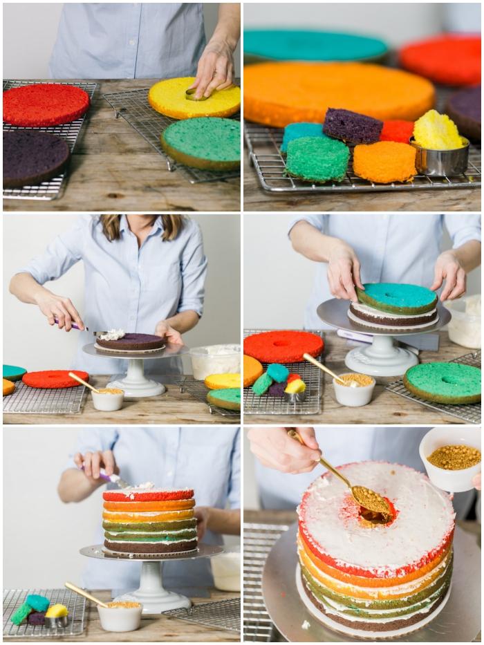 comment faire un gâteau arc-en-ciel à plusieurs couches de génoise multicolore avec un surprise gourmand à l'intérieur