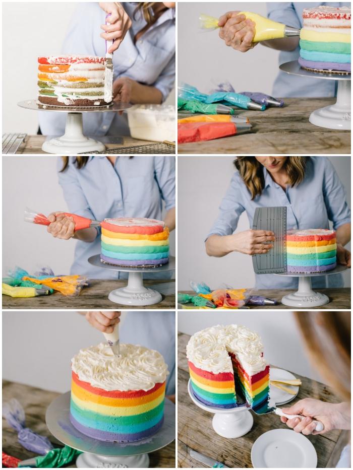 tutoriel pour assembler et décorer un gateau arc en ciel plein de surprises, technique simple pour décorer un rainbow cake à l'aide d'une poche à douille et d'une spatule