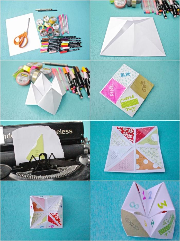 comment faire une cocotte origami personnalisée, une cocotte origami décoré avec des papiers à motifs imprimés et un texte écrit à la machine à écrire