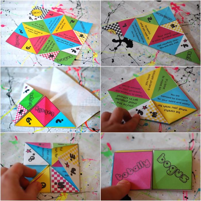 idée de cadeau pour les invités personnalisé, un petit cadeau original en forme de cocotte papier multicolore pour une soirée années 80s