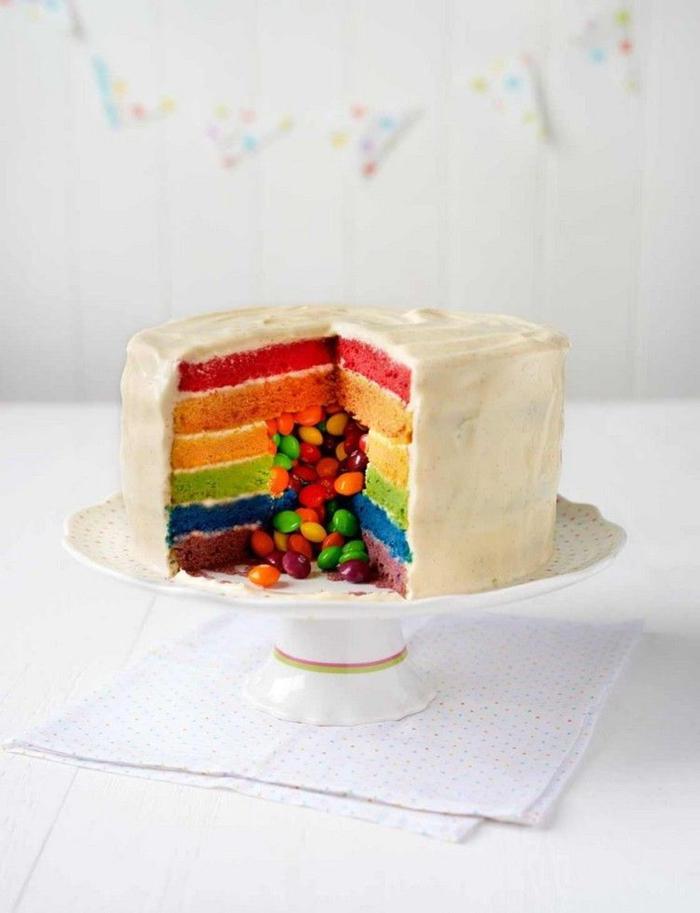 recette de gateau smarties à plusieurs couches multicolore qui semble tout simple de l'extérieur