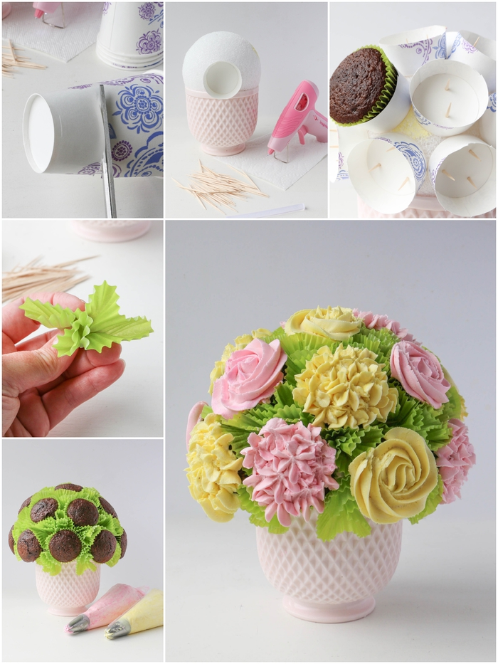 comment réaliser un bouquet insolite de cupcakes en forme de fleurs au glaçage rose et jaune, activite fete des meres pour réaliser un cadeau gourmand personnalisé