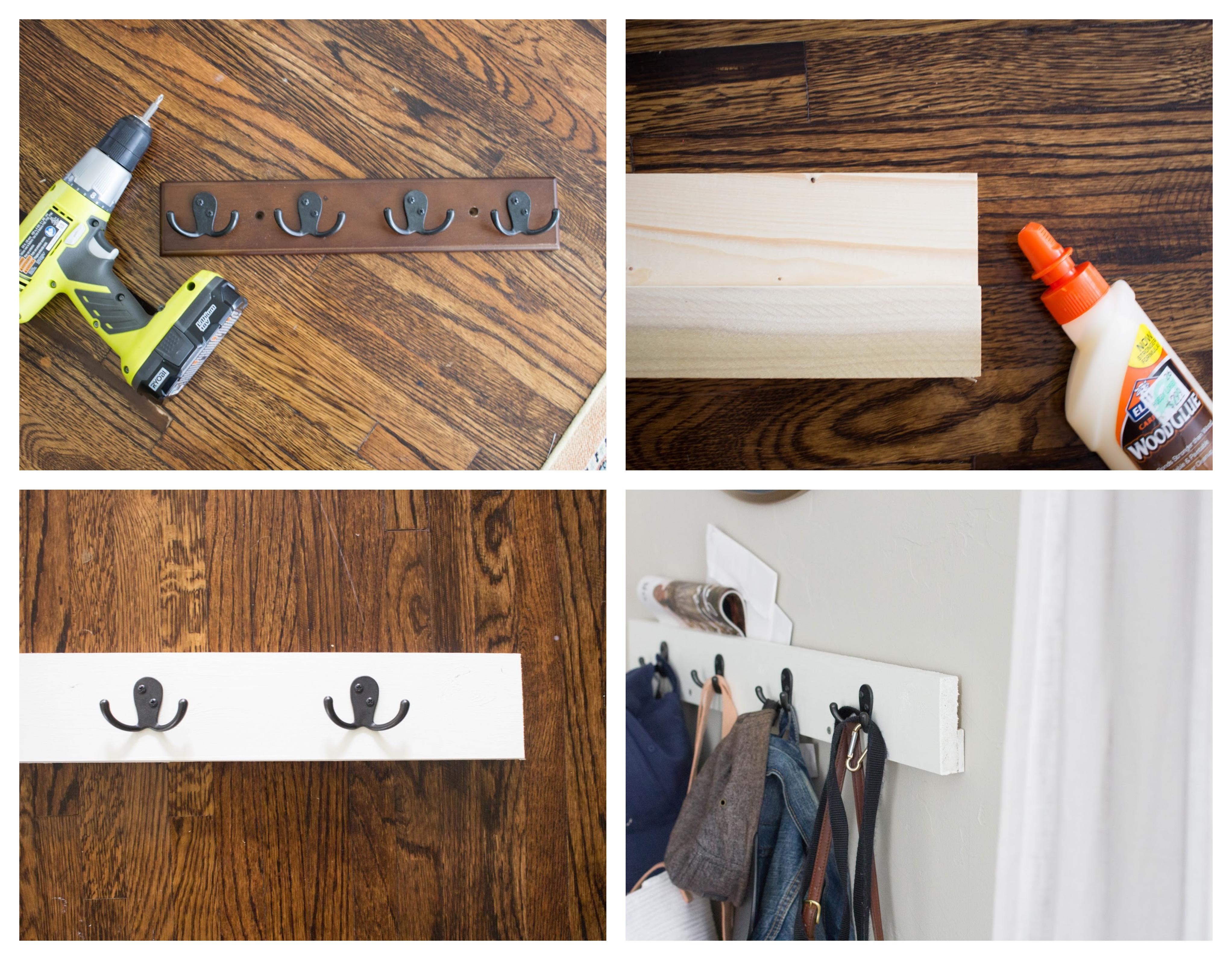 exemple de porte manteau original en planche et latte de bois blanchie avec des accroches metalliques noires à fixer sur un mur