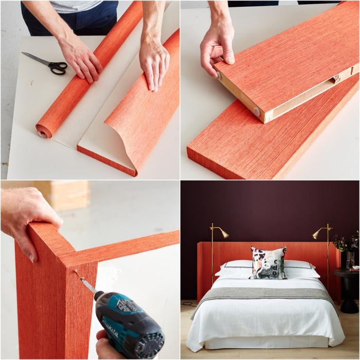 idée de déco récup dans la chambre à coucher, une tete de lit papier peint tendance réalisée à partir d'une porte récupérée et quelques lés de papier peint