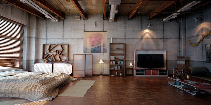 exemple de commode industrielle dans une chambre loft aux poutres et tuyauterie apparente, parquet bois, linge de lit gris, mur de béton, meuble tv et table basse industrielle