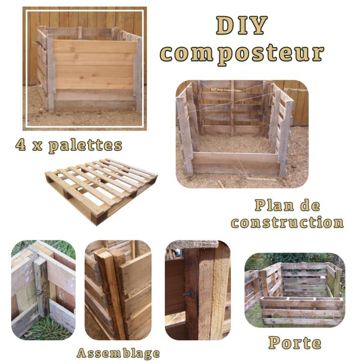 tutoriel avec les matériaux et les étapes à suivre pour fabriquer son composteur en palettes de bois et grillage carré
