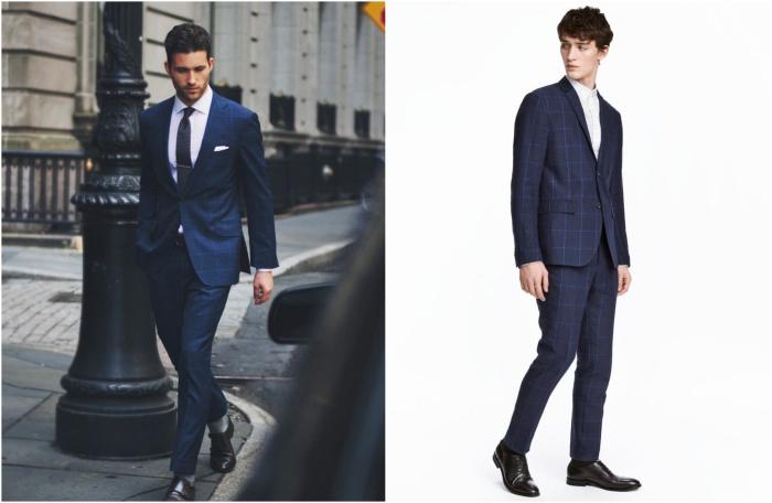 un costard mariage tendance à larges carreaux bleus porté avec ou sans cravate, comment porter un costume à motifs