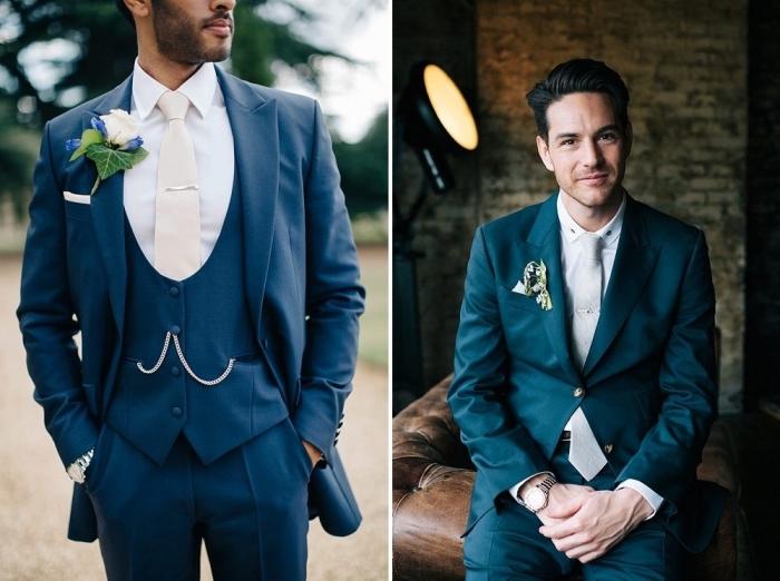 quelle couleur de costume marié choisir en 2018 pour être à la pointe des tendance, deux looks stylés en costume bleu