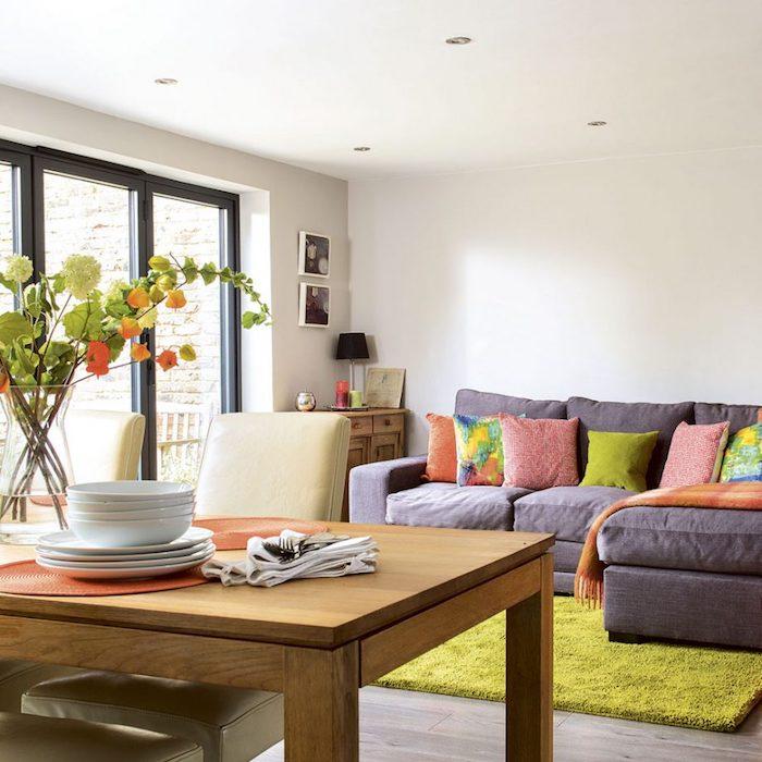 Déco salon salle à manger salon vert et orange idee deco peinture salon scandinave cool déco canapé angle confortable