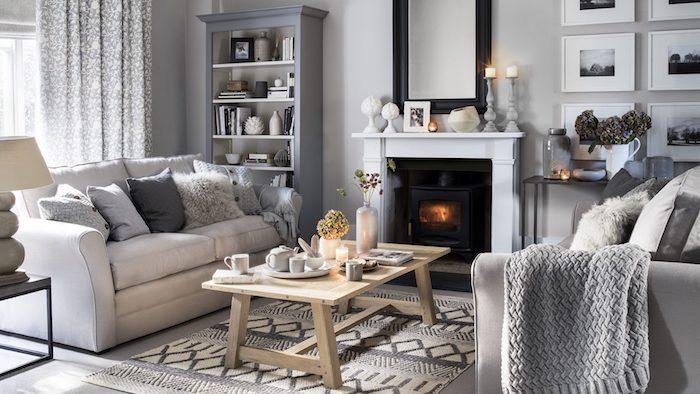 Décoration d'intérieur appartement cosy cheminée salle de séjour design appartement deco belle