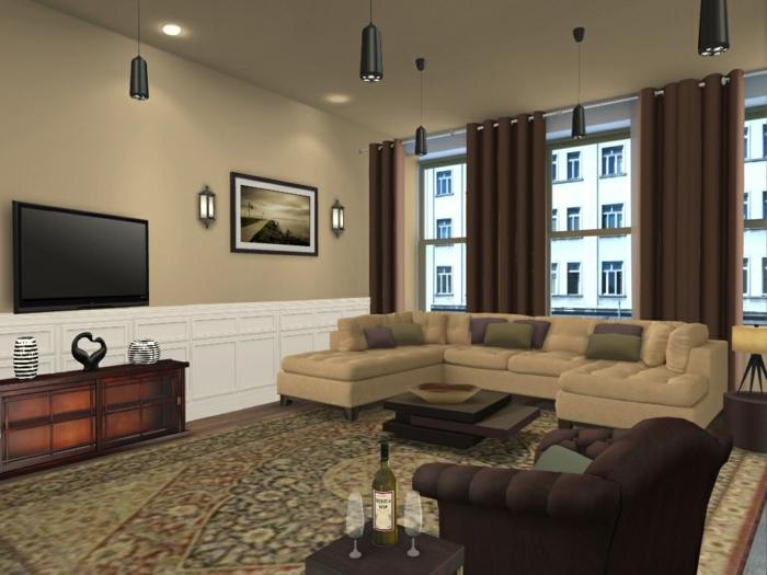 séjour équipé en style traditionnel, buffet en bois, tapis persan, sofa couleur beige, grand meuble de tv blanc