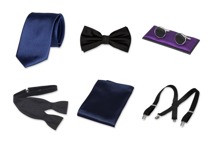 quels accessoires choisir pour une tenue classe homme, modèles de cravates papillons et boutons chemise de nuance foncé