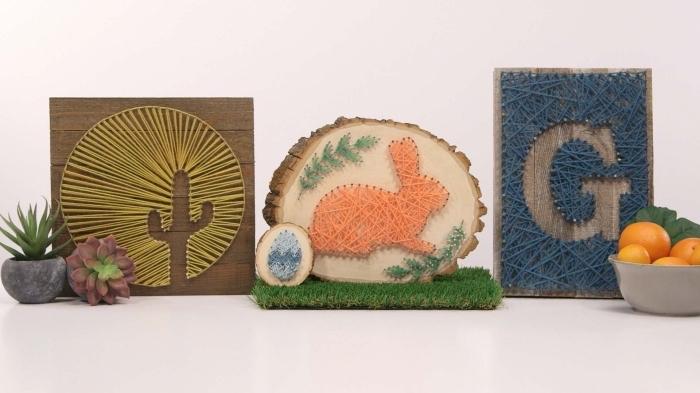 idées loisirs créatifs pour maitriser la technique de fabrication objet décoratif pour mur et intérieur en bois et fil à coudre