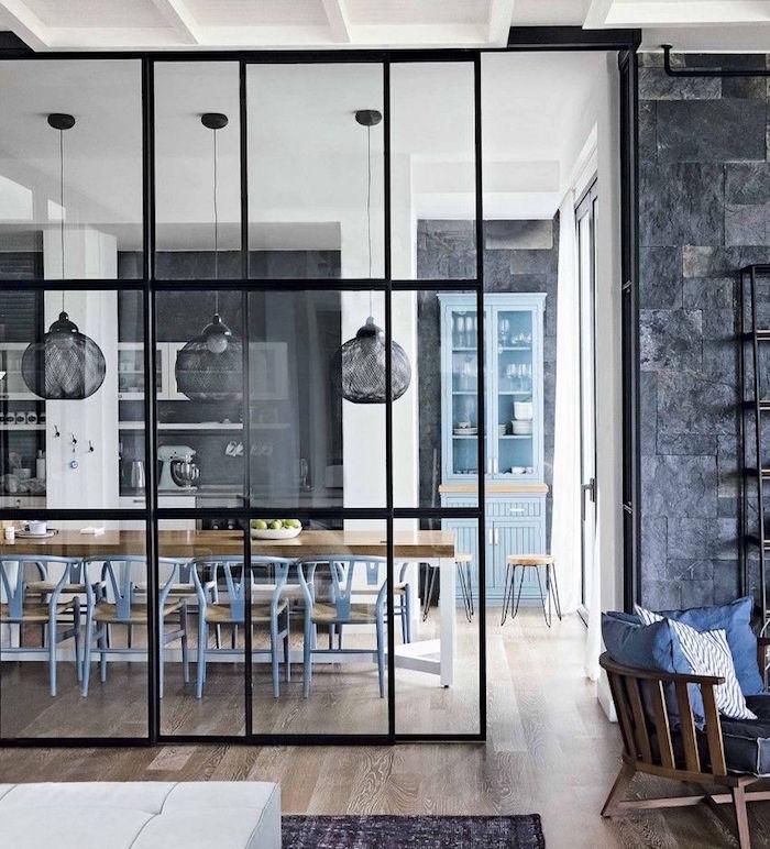 1001 id es s paration cuisine salon coulissez une porte ouverte - Salon salle a manger style industriel ...