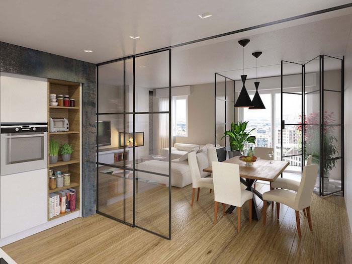 sеparation cuisine salon et salle a manger avec verriere coulissante en métal