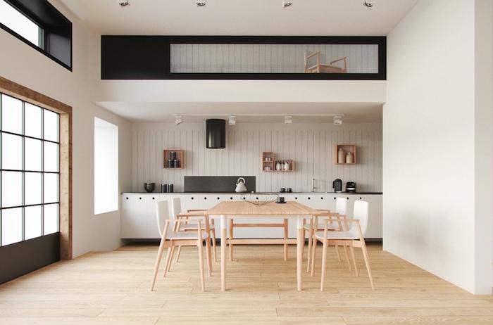 meubles salle à manger moderne style scandinave blanche avec parquet clair et cuisine design table et chaises en bois