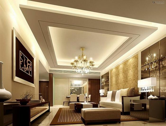 salle de séjou en beige et gris, plafonnier lustre magnifique, équipement minimaliste et déco en couleur neutres