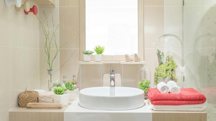 plantes vertes d'intérieur, plantes d'appartement, pinterest salle de bain, lavabo blanc ovale, carrelage en couleur beige, serviettes en couleur corail et en blanc