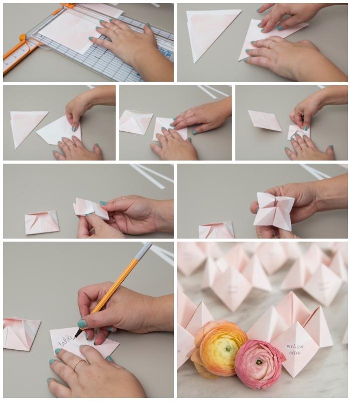 idée déco de table de mariage à fabriquer soi-même, le pliage d'une cocotte papier en marque-place