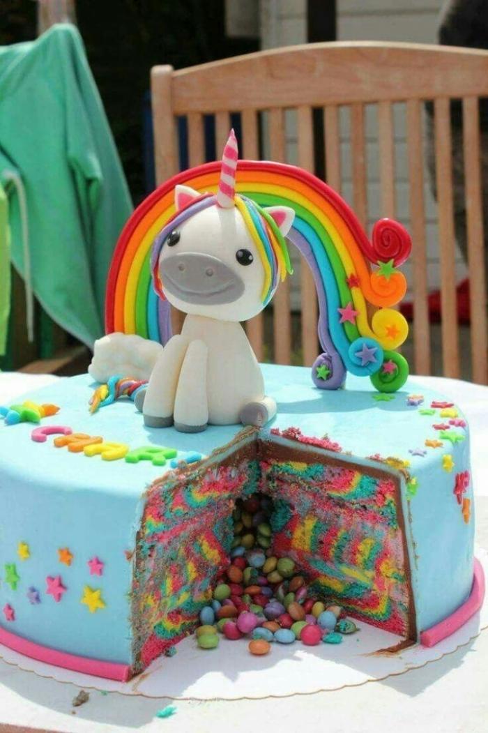 fêtez un anniversaire licorne inoubliable avec un gâteau arc en ciel marbré recouvert de pâte à sucre et décoré avec une licorne modelée en pâte à sucre