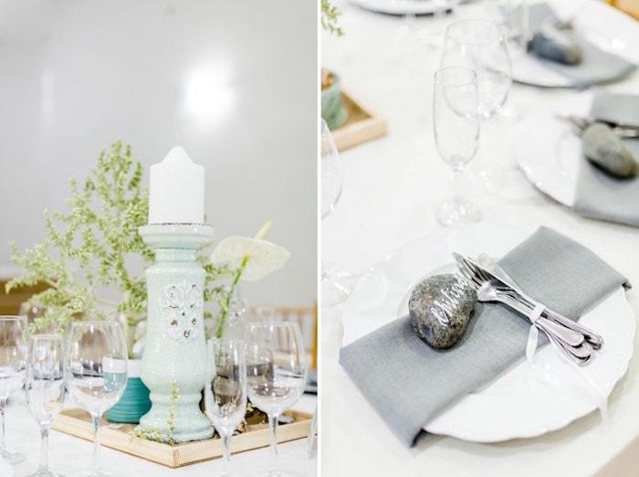 Décoration de table mariage centre de table mariage décoration salle de mariage idée déco originale avec pierre incrusté marque place originale