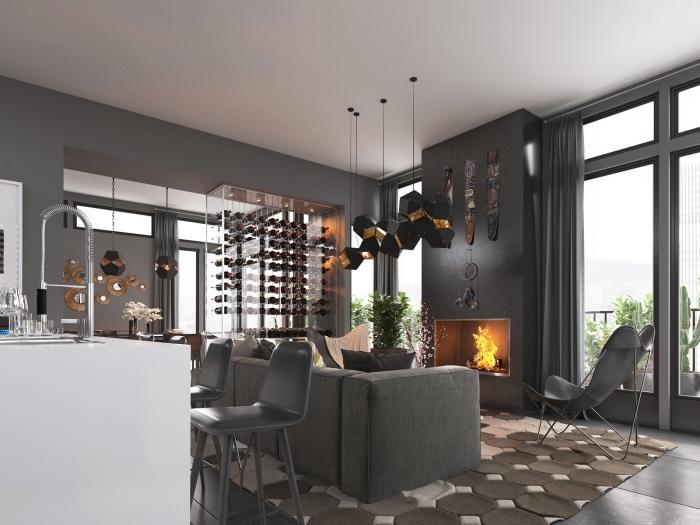 mixage de style moderne et industriel dans un appartement aux murs gris et plafond blanc avec meubles design gris