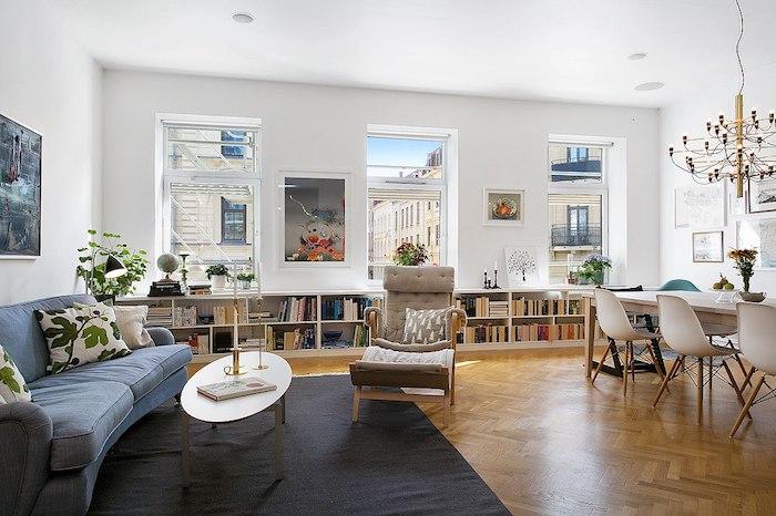 Idée couleur salon idee deco peinture salon choisir une déco tendance magnifique idée pour gagner de l'espace bibliothèque sous les fenetres coussins de sol