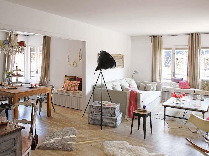 Décoration d'intérieur aménagement petit studio chouette idée pour salon moderne salle a manger cuisine et salon en meme piece