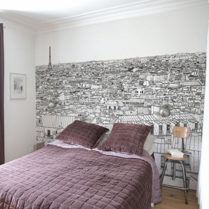 idées déco tête de lit panoramique pour donner de la profondeur à la petite chambre à coucher