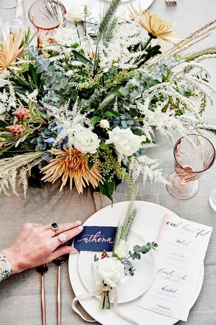 Marque place mariage centre de table mariage la salle de mariage idée déco centre de table fleurie originale et chic