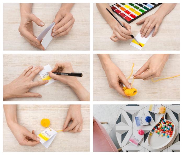 comment faire un pompon avec fourchette et laine enroulée autour, étiquettes personnalisées à l aquarelle