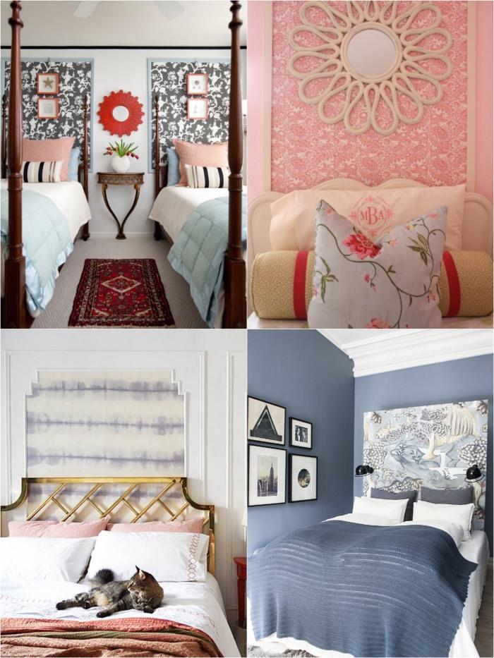 idées déco tête de lit diy réalisée avec du papier peint détourné de son usage habituel