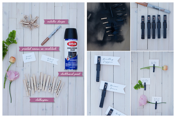 marque place a faire soi meme en pinces à linge repeints de peinture noire étiquette invité et fleur, exemple de carte d'escorte