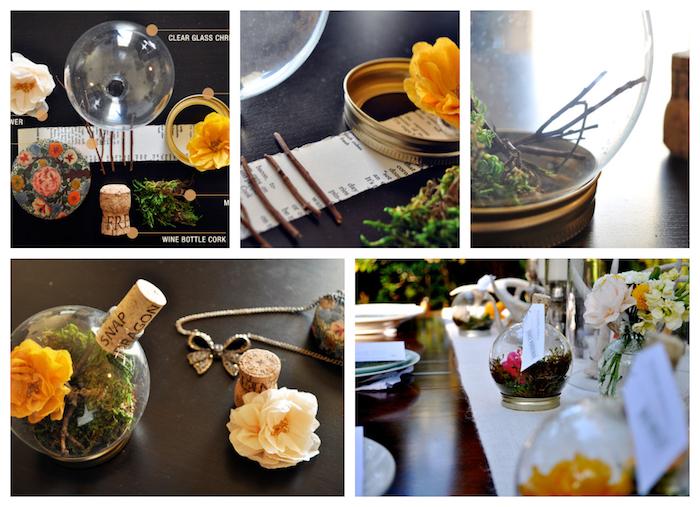 deco de table mariage, marque place terrarium en boule en verre, remplie de mousse, fleur et branches