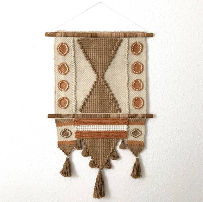 tenture murale macramé style vintage pérou tissage traditionnel en laine