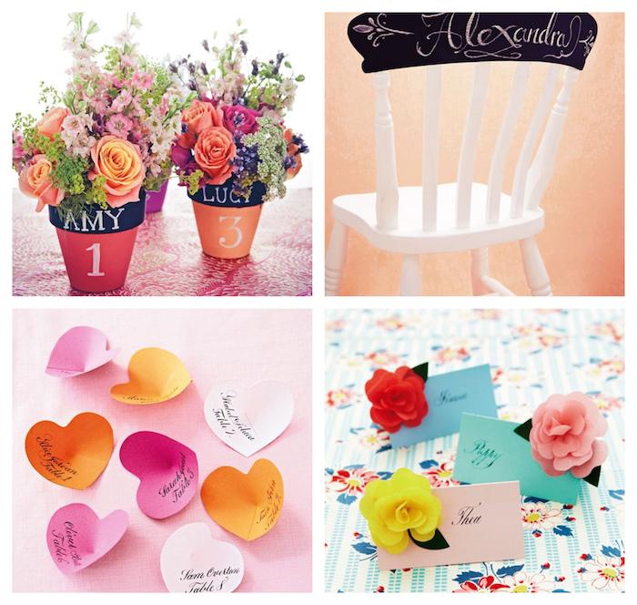 marque-place mariage, plusieurs exemples originaux, pot de fleurs, chaise décorée de peinture ardoise, coeurs en papier et simple étiquette nom avec fleur décorative