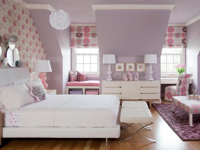 photo inspi deco peinture chambre pour fille couleur violet lavande et fleuri rose